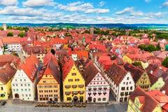 Rothenburg ob der陶伯,德国空中全景  库存照片