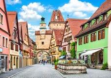 Rothenburg ob der陶伯,巴伐利亚,德国古镇  库存图片