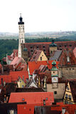 Rothenburg ob der Tauber. Ancient red roof houses, Rothenburg ob der Tauber, medieval old town in Germany stock photography