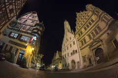 Rothenburg-ob der Tauber am Abend Stockbild