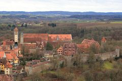 Rothenburg ob der Tauber - aerial view Stock Images