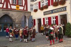 ROTHENBURG OB DER TAUBER, DUITSLAND - September 5: Uitvoerders van t royalty-vrije stock afbeeldingen