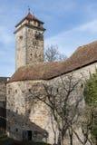 Rothenburg ob der Tauber een historische en middeleeuwse stad en een één van de mooiste dorpen in Europa, Duitsland, stock foto