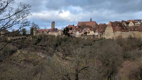 Rothenburg ob der Tauber, German Village. Medieval buildings in Rothenburg ob der Tauber, Germany Royalty Free Stock Photography