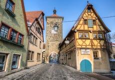 Rothenburg ob der Tauber, Germany - The Plonlein Fork Stock Image