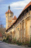 Rothenburg ob der Tauber, Germany. Medieval city wall and tower in old preserved gothic art town of Rothenburg ob der Tauber, Germany royalty free stock photos