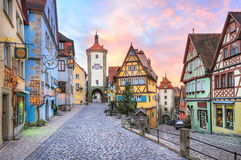 Rothenburg ob der Tauber, Germany. Rothenburg ob der Tauber by Nuremberg, Germany. Well preserved medieval german town, UNESCO world culture heritage site, on of Stock Photo