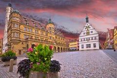 Free Rothenburg Ob Der Tauber. Main Square Marktplatz Or Market Square Of Medieval German Town Of Rothenburg Ob Der Tauber Stock Photo - 199259310