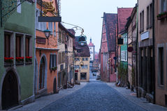 Rothenburg-ob der Tauber morgens lizenzfreie stockfotos