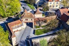 Rothenburg ob der Tauber, old Roeder city gate. Germany stock images