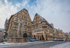 Rothenburg obder Tauber, Tyskland - gatan beskådar Royaltyfri Bild
