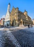 Rothenburg obder Tauber, Tyskland - stadshus Arkivbild