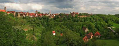 Rothenburg Panorama. Panoramic view of the medieval walled city of Rothenburg Stock Images