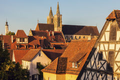 Rothenburg panorama with St. James`s Church Stock Images