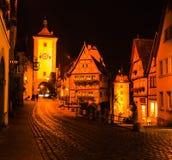 Rothenburg w nocy Zdjęcia Royalty Free