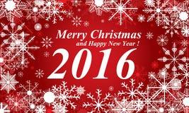 Rothintergrund des Schnees, der frohen Weihnachten und des guten Rutsch ins Neue Jahr 2016 Schnee im Winter Lizenzfreies Stockfoto