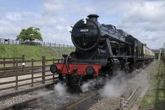 Stanier 8F 2-8-0 freight locomotive 48624 in black livery. royalty free stock images