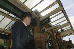 Station master on the platform stock photos