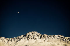 Rothorn moon. Mountain Landscape from ski resort Lenzerheide Stock Image