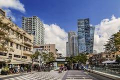 Rothschildboulevard in Tel Aviv stock afbeelding