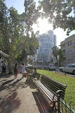 Rothshild boulevard in Tel Aviv, Israel Royalty Free Stock Photos