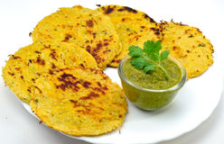 Roti. Makkai Roti- Indian bread made up of maize floor and served with Chutney Royalty Free Stock Images
