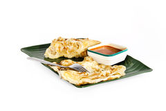 Roti canai with curry. Indian traditional food in asia royalty free stock images