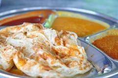 Roti canai flat bread, Indian food Stock Image