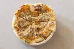 Roti with chili sauce and pork floss Stock Photos