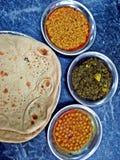 roti sabzi, chana and dal, typical vegetarian pakistani dish stock image