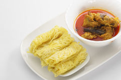 Roti Jala and Chicken Curry Royalty Free Stock Photography