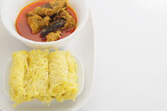 Roti Jala and Chicken Curry Stock Images