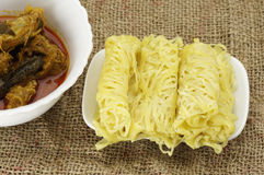 Roti Jala and Chicken Curry Royalty Free Stock Photo