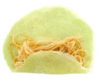 Roti Saimai (Cotton candy). Is Thai-style candy floss isolated on white Royalty Free Stock Photography