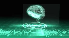 Rotierende transparente Grafik des menschlichen Gehirns mit Schnittstelle stock video footage