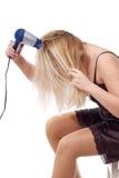 Rotina da manhã com secador de cabelo Imagens de Stock Royalty Free