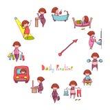 Rotina diária Vetor ajustado com menina engraçada Imagens de Stock Royalty Free