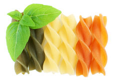 Rotini pasta with basil Stock Image