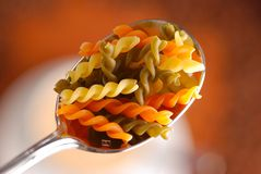 Rotini pasta in spoon Royalty Free Stock Photography