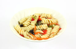 Rotini salad in a small white dish Royalty Free Stock Images
