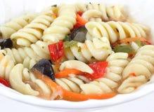 Rotini salad in white dish Royalty Free Stock Photos