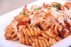 Rotinis pasta close-up. Rotinis tomato sauce pasta closeup Stock Image