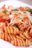 Rotinis pasta close-up. Rotinis tomato sauce pasta closeup Stock Images