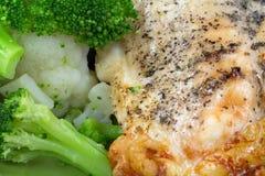 Rotisserie Chicken Breast Broccoli Cauliflower Royalty Free Stock Image