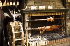 Rotisserie with the meet. Rotisserie with pig and chicken over the coals, spinning by water wheel Stock Image