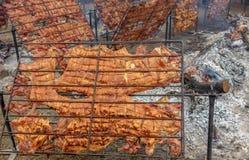Rotisserie pork with firewood (Peruvian Cuisine) Stock Photo