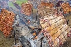 Rotisserie pork with firewood (Peruvian Style) Stock Image