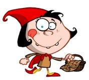 Rotkäppchen-Karikatur-Mädchen, das ein Bas trägt Lizenzfreies Stockfoto