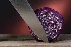 Rotkohl und Messer Lizenzfreies Stockbild