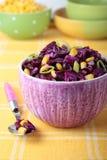 Rotkohlsalat mit Mais und Porree Stockfotos